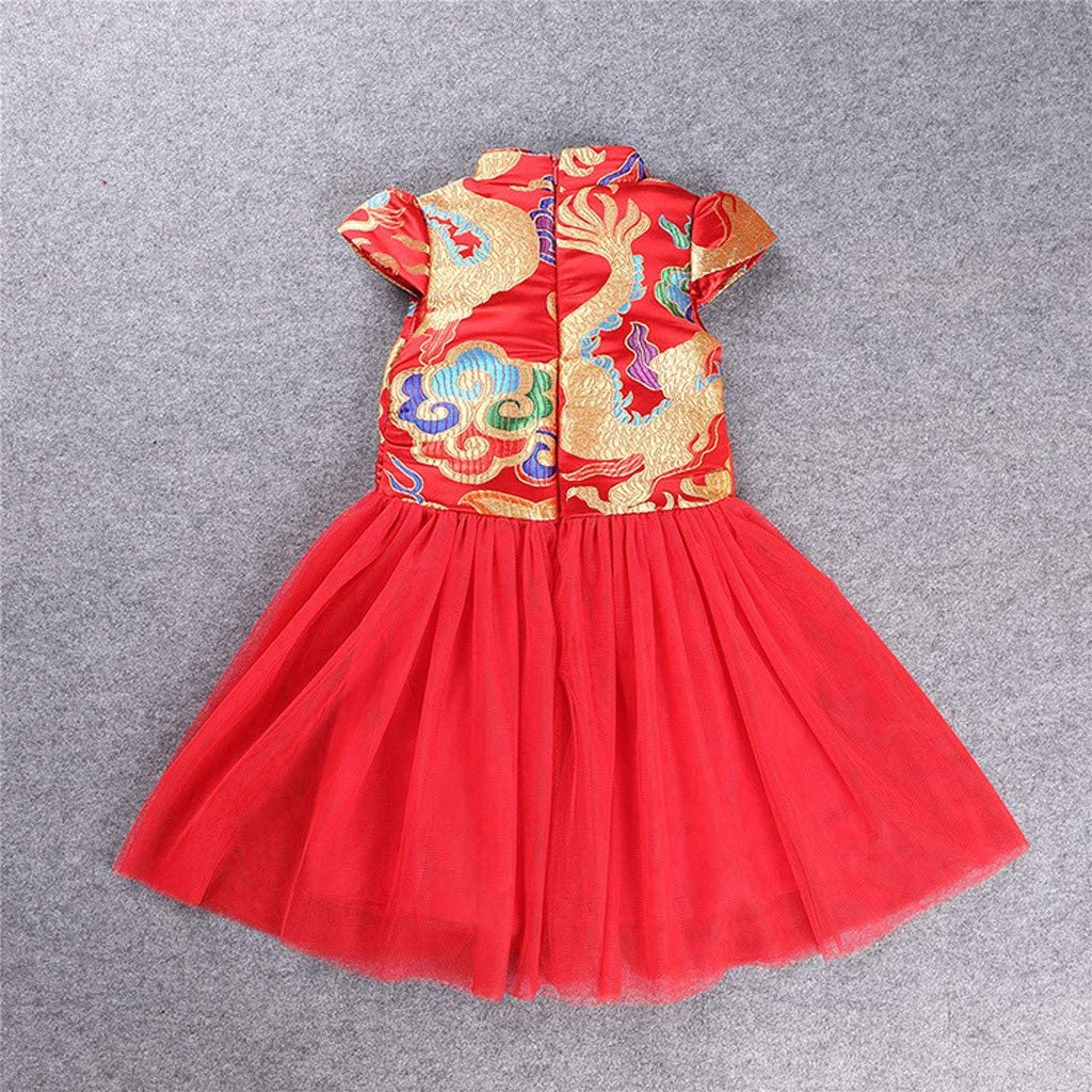 H.eternal Chinese Qipao Baby Girl Short Sleeves Cheongsam Embroidered Princess Dress Costume Red Happy Birthday Party Bow Cute Romper Jumpsuit Tutu Skirt