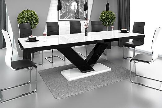 Furniture24 Design Esstisch Victoria ausziehbar 160 256 cm Hochglanz Acryl Tisch Küchentisch (Weiß HochglanzSchwarzWeiß Hochglanz)