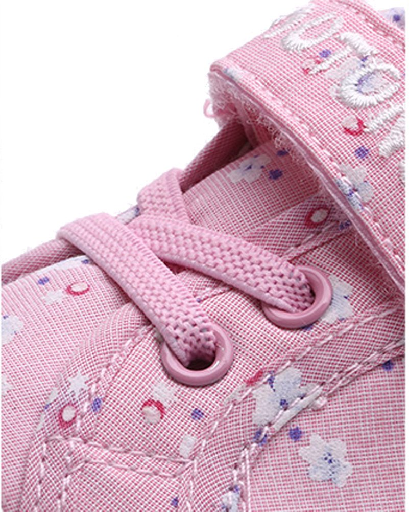 VECJUNIA Girls Sweet Floral Heart Painted Round Toe Canvas Shoes Pink 12.5 M US Little Kid by VECJUNIA (Image #2)