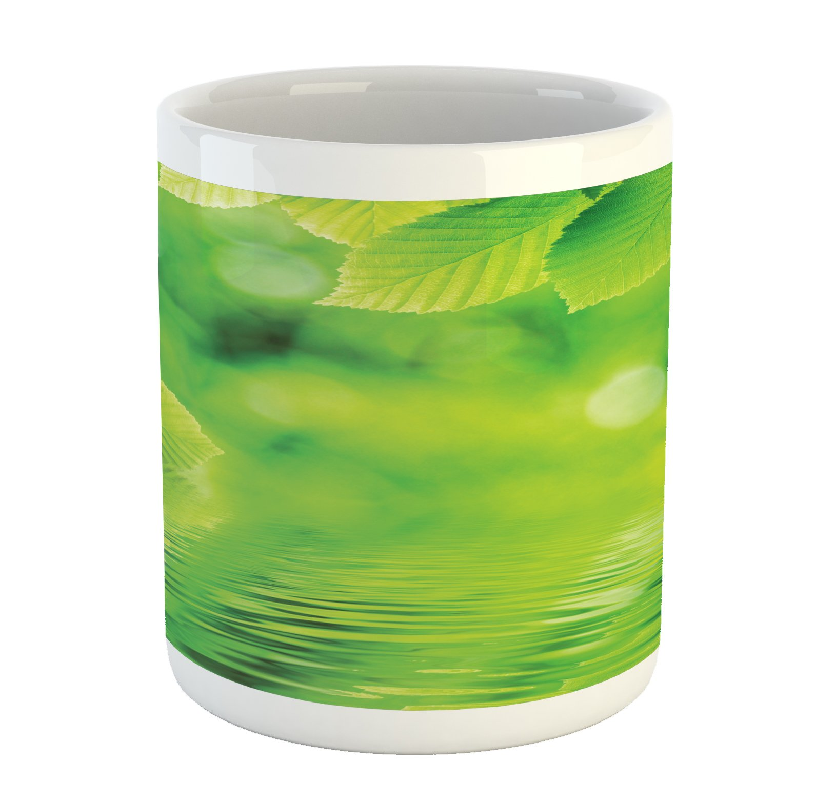 Ambesonne Leaves Mug, Leaves in Water Spa Open Your Chakra with Nature Meditation Ecological Monochrome Photo, Printed Ceramic Coffee Mug Water Tea Drinks Cup, Green