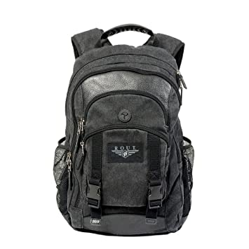 new concept 2019 discount sale the latest Voyager Cotton Canvas Biker Backpack with Leather Trim - Slim Motorcycle  Backpack for Riding - Indoor/Outdoor Daypack - Black