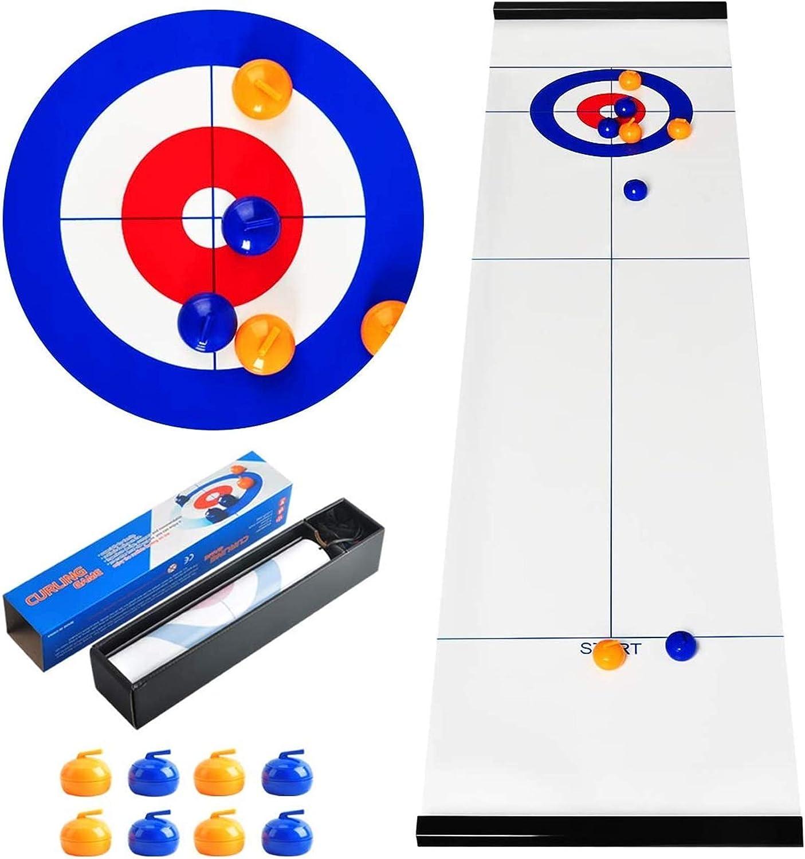 Poulbee Juego de mesa portátil, juego de curling, juego de mesa de equipo portátil, entrenamiento de tablet, juegos de mesa para niños y adultos, para interiores y viajes