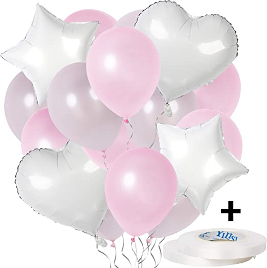 """8 Girl Christening Hot Pink Purple White 12/"""" Latex Party Balloons Helium Air"""