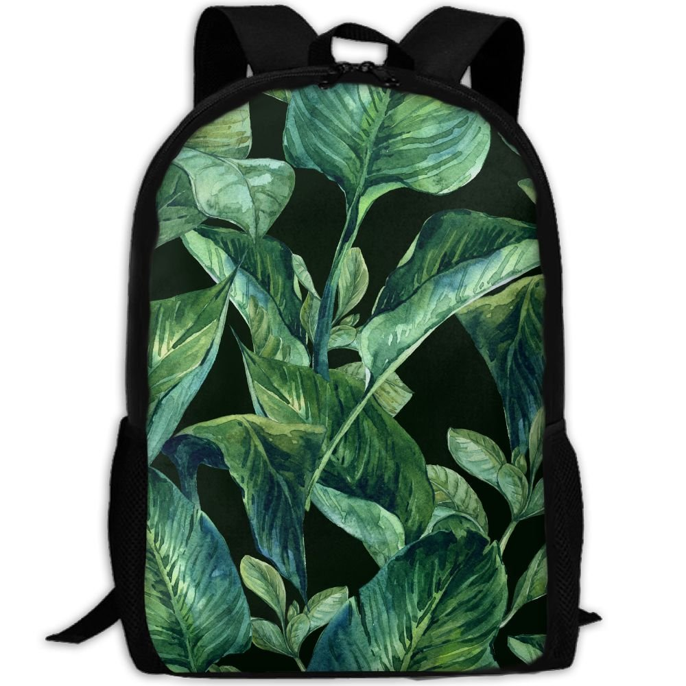 OIlXKV Tropical Leaves.jpeg Print Custom Casual School Bag Backpack Multipurpose Travel Daypack For Adult