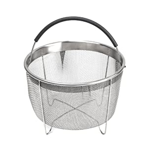 kaviatek B47D Pressu Stainless Steel Steamer Basket with Handle for Instant Pot Accessories 6qt 8qt Pressure Cooker, Made, Silver