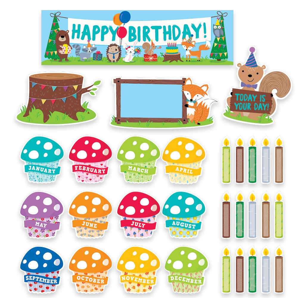 Creative Teaching Press Woodland Friends Happy Birthday Mini Bulletin Board 1758