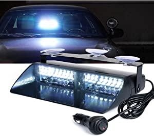 Xprite White 16 LEDs High Intensity LED Law Enforcement Emergency Hazard Warning Strobe Lights For Interior Roof/Dash/Windshield With Suction Cups