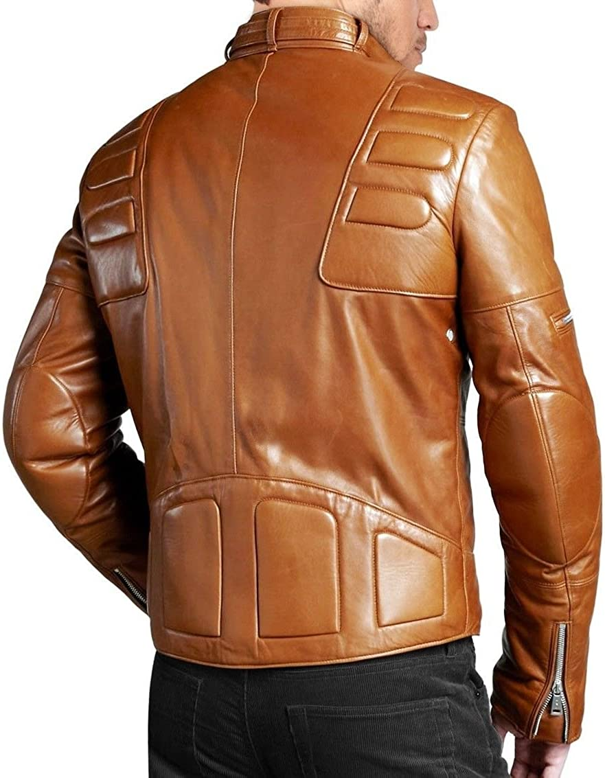 Kingdom Leather New Mens Leather Jacket Slim Fit Biker Motorcycle Genuine Leather Coat X419