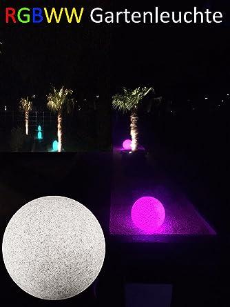 LED Bombilla bola piedra natural, 20 cm, RGB + Blanco Cálido, Jardín Lámpara