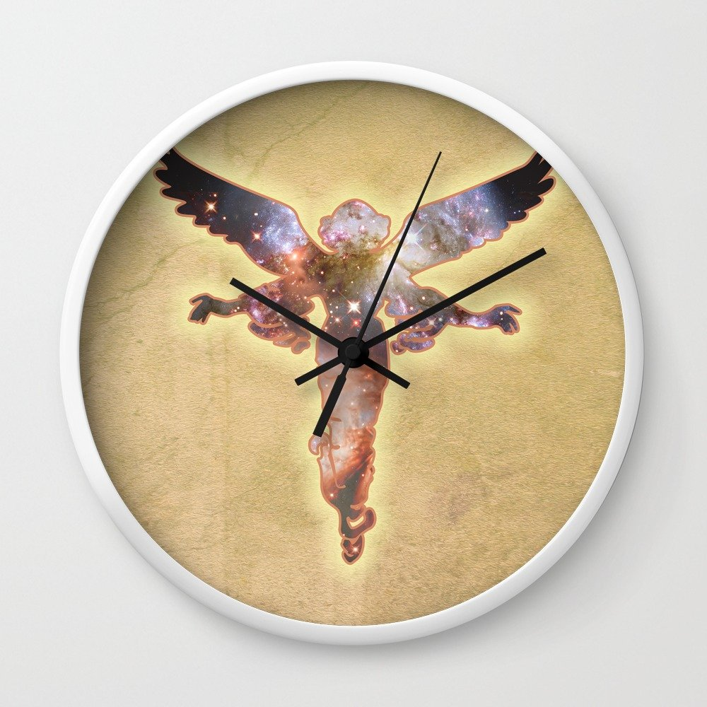Amazon.com: Society6 Cosmic Angel Wall Clock White Frame, Black ...