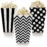 Famoby 36 pcs Black,White Chevron Stripe Polka Dot Paper Popcorn Boxes