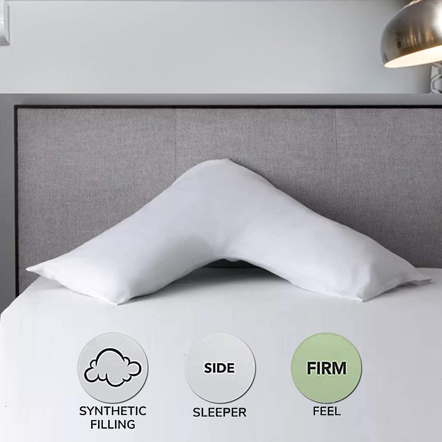 for Firm Support to Head//Neck//Shoulder//Back 75 x 34 inches Virgin Hollow Fibre Filled V Cushion for Everyone Ideal for Body Support in Pregnancy//Maternity//Nursing East Gate Orthopedic V Pillow