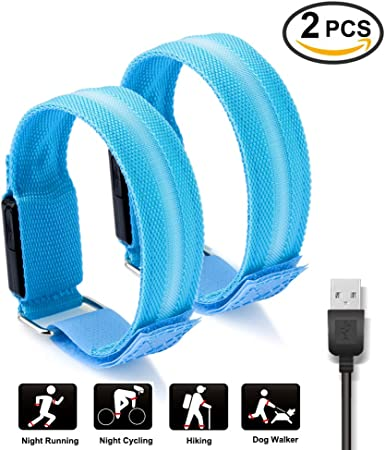 Set of 2 LED Safety Armbands High Visibility Reflective for Running