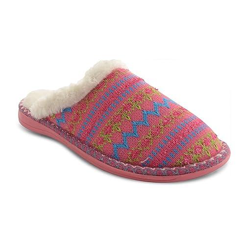 Dunlop - Zapatos de Punto, Borde de Pelo de imitación Mujer: Amazon.es: Zapatos y complementos
