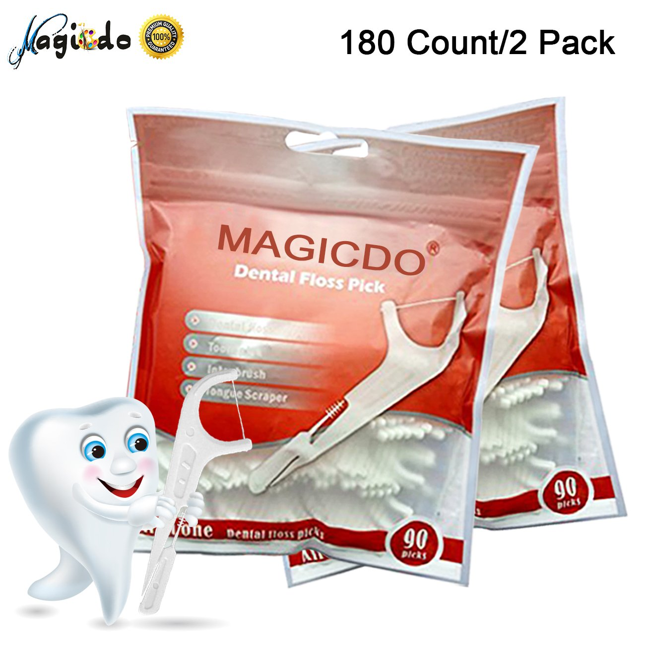 4 in 1 Dental Floss Pick with Flosser, Tooth Pick, Inter Brush & Tongue Scraper by Magido, FDA Approved, 180 Count (2 Pack) Magic Decoration