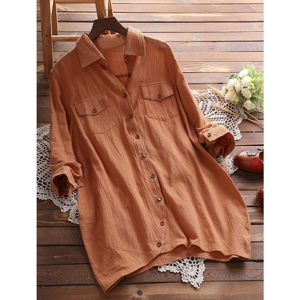 Oyedens Womens Long Sleeve Tops,Women Ladies Button Pocket Lapel Long Sleeve Long Shirt Blouse
