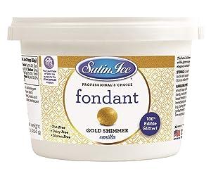 Satin Ice Gold Shimmer Fondant, Vanilla, 1 Pound