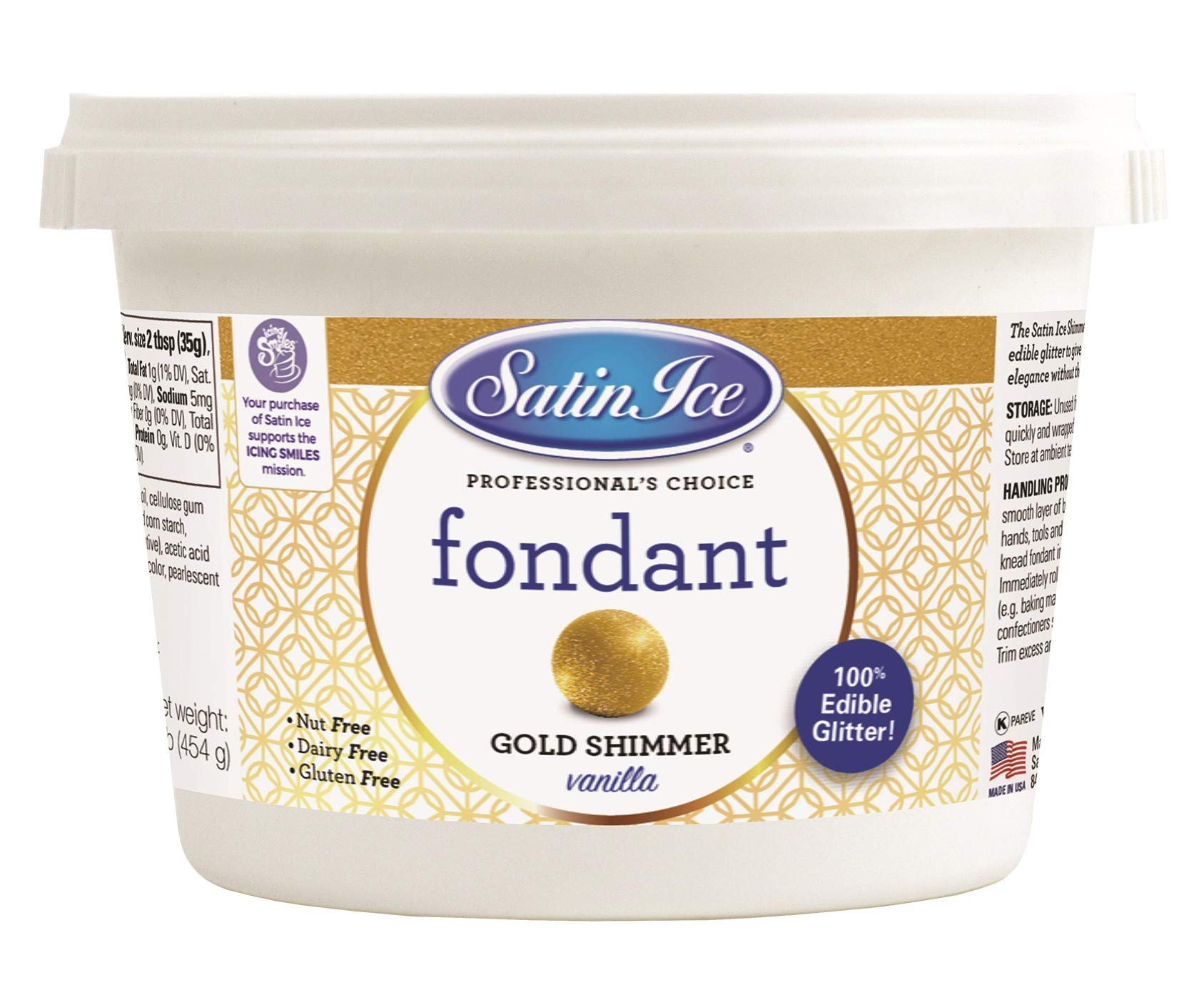 Satin Ice Gold Shimmer Fondant, Vanilla, 1 Pounds