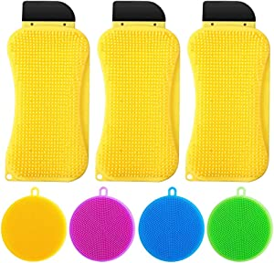 3 in 1 Silicone Sponge Scrubber Scraper Multi-Functional Cleaning Brush Household Built-in Soap Dispenser with 4 pcs Silicone Dish Sponges for Kitchen Bathroom