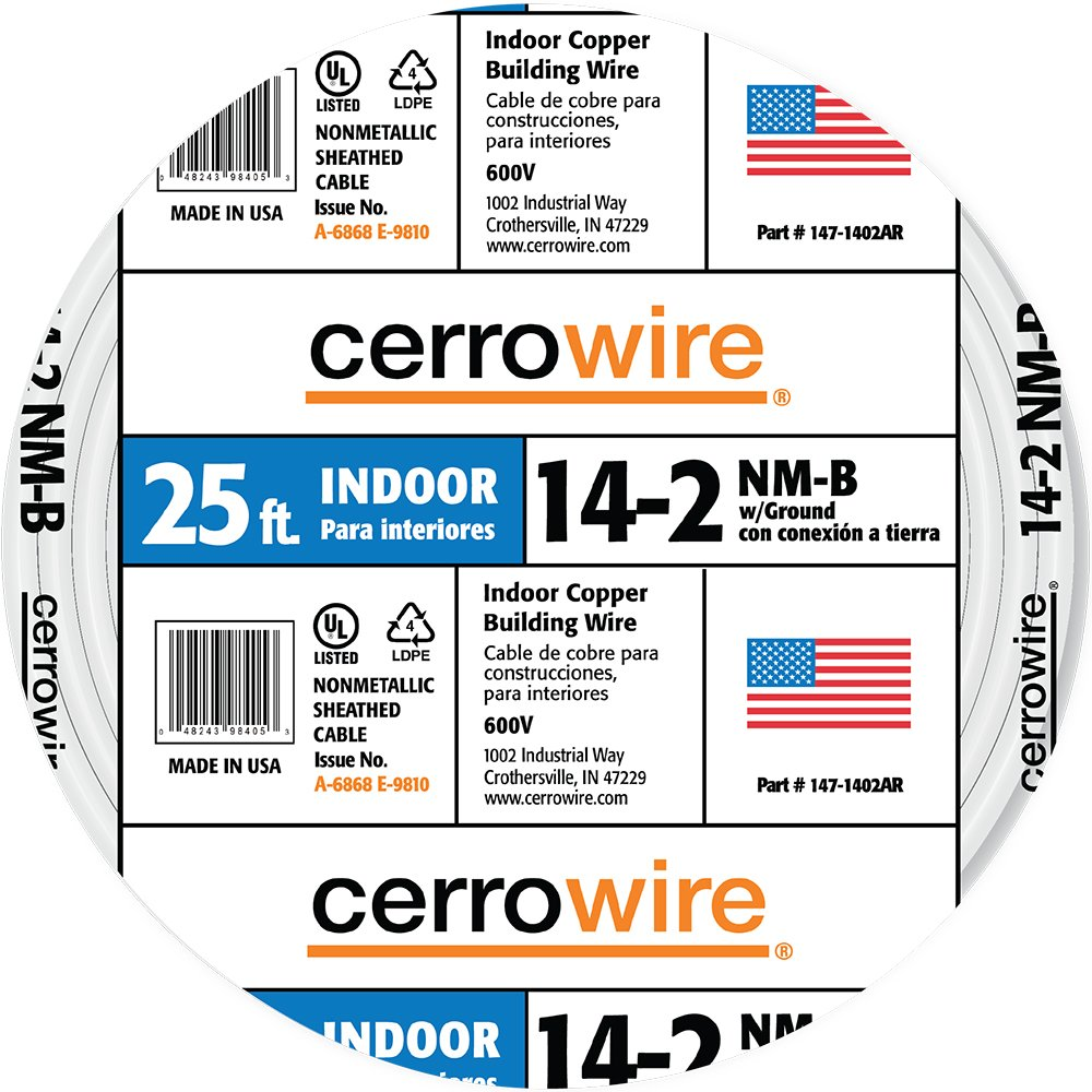 Cerrowire 147 1402ar 25 Feet 14 2 Nm B Solid With Ground Wire White Electrical Cable Copper Gauge Romex Simpull Wires