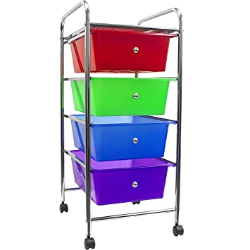 Sorbus 4 Drawer Organizer Rolling Cart U2014Features Storage Bins On  Wheelsu2014Great Organizer Cart