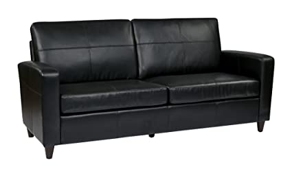 Office Star Lounge Espresso Bonded Leather Sofa With Espresso Finish Legs,  Black