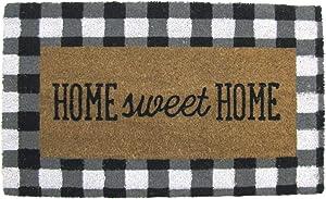 TG,LLC Treasure Gurus Buffalo Check Plaid Coir Home Sweet Home Welcome Entryway Mat Indoor Outdoor Rug Entry Doormat