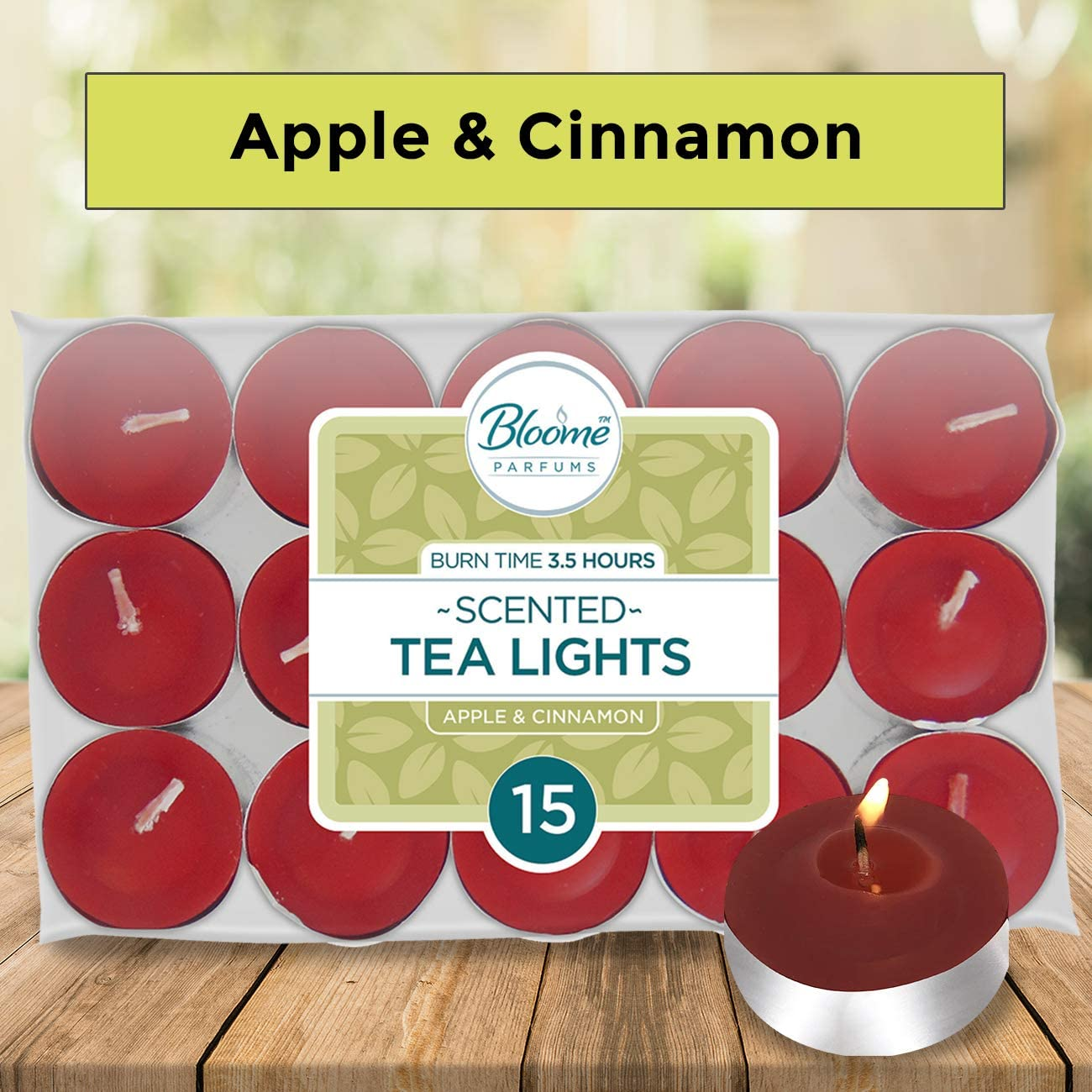 15 pk Scented Tea Light Candles Winter Berries//Apple /& Cinnamon