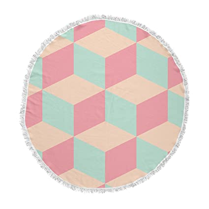 Kess InHouse Bluelela Cube 003 Pink Green Geometric Pattern Digital Vector Round Beach Towel Blanket