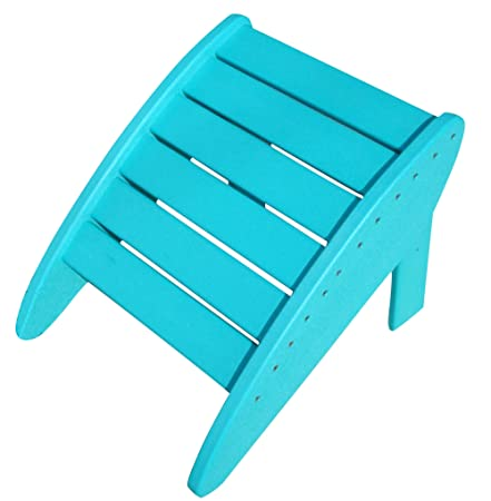 Phat Tommy Recycled Poly Resin Folding Ottoman Durable Nature-Friendly Patio Furniture Matches Adirondack, Teal