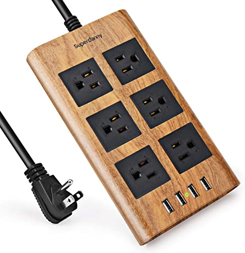 15A Surge Protector Power Strip, SUPERDANNY 9.8ft Black Extension Cord 6 AC Outlet 4 USB Ports Smart Charging 110-240V Flat Plug with Fastening Cable Tie for iPhone iPad Home Office, Dark Wood Grain