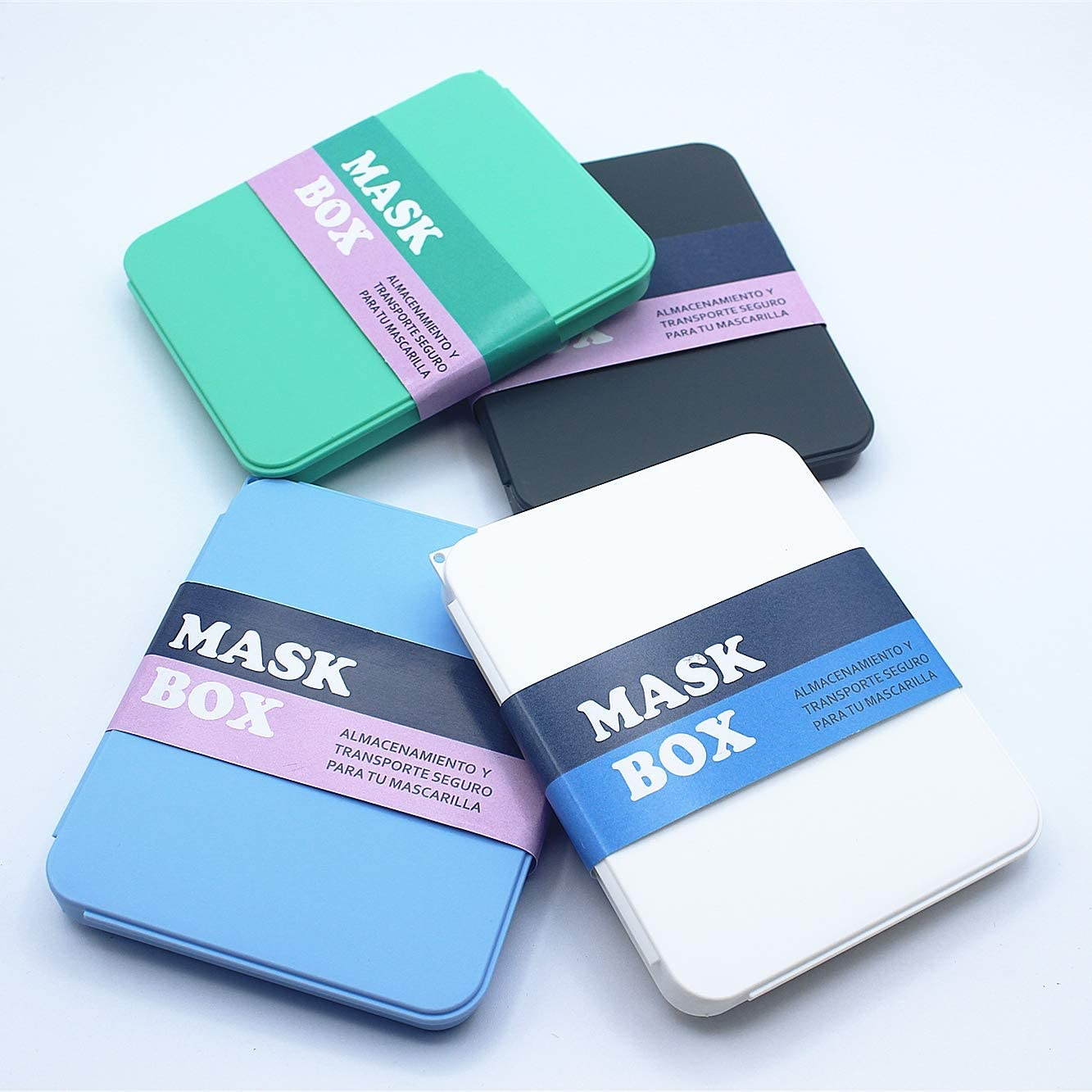 Haioo 4 Unidades de Caja de Almacenamiento Mascarillas Estuche de Máscara de Plástico Cajita Porta Mascarillas Caja para Guardar Mascarilla Evitar Contaminación y Polvo Estuche de Protección Máscaras