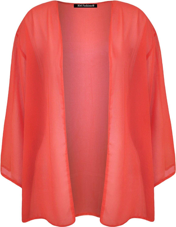 Rimi Hanger Ladies Short Sleeve Chiffon Mesh Kimono Cardigan Top Coral 3 X Large