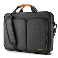 "tomtoc Travel Messenger Bag 15.6"" with Protective Laptop Compartment Briefcase Shoulder Bag Fit for 13-15 Inch HP Dell Acer Lenovo Asus Samsung Notebook Tablet, Black"