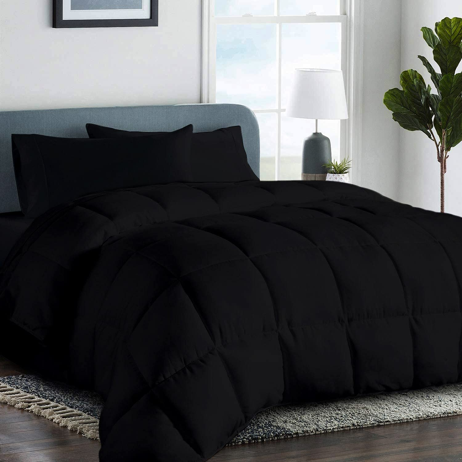 Organic Cotton and Polyester King Set Black Comforter - quality assurance Comforte Max 72% OFF