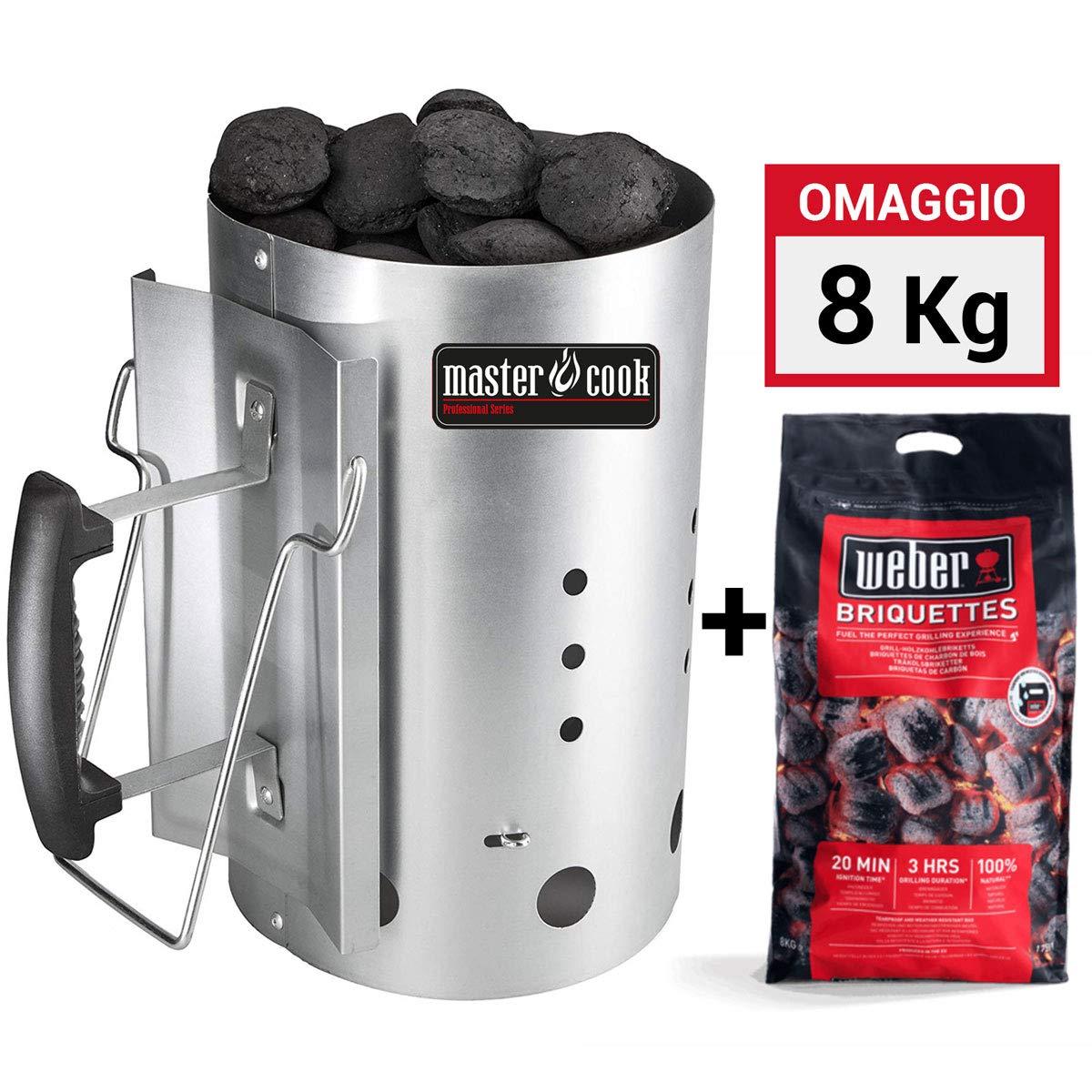 MasterCook - Kit Accenditore Barbecue + 8 kg Bricchetti Weber Omaggio - Impugnatura di Sicurezza in Alluminio - Kit ciminiera