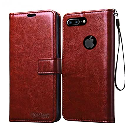 buy popular e6c20 cd215 Bracevor Leather Case Flip Cover | Foldable Stand | Wallet Card Slots for  Apple iPhone 7 Plus 5.5 inch - Executive Brown
