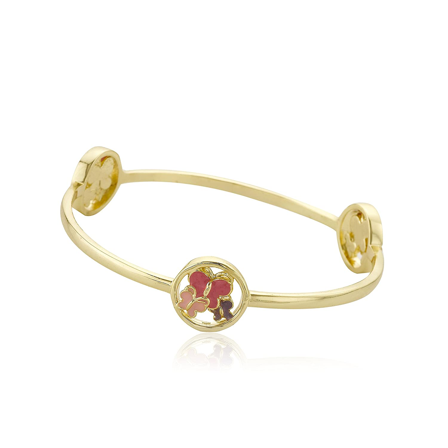 Little Miss Twin Stars Stackable Stunners14K Gold Plated Bangle With Cut Outs