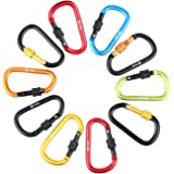 GLOUE Aluminum D-ring Locking Carabiner Keychain Spring Clip Lock Carabiner Hook - Outdoor Camping Equipment - Multi Colors (10PCS)