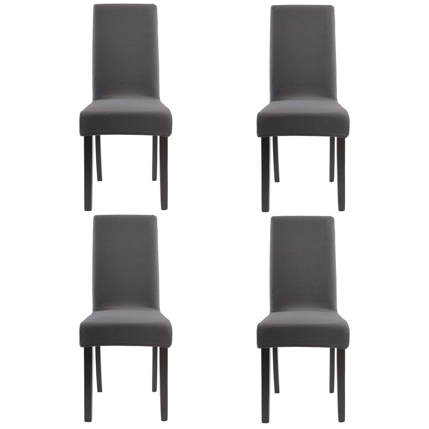 Homluxe Knit Spandex Stretch Dining Room Chair Slipcovers (4, Gray Knit)