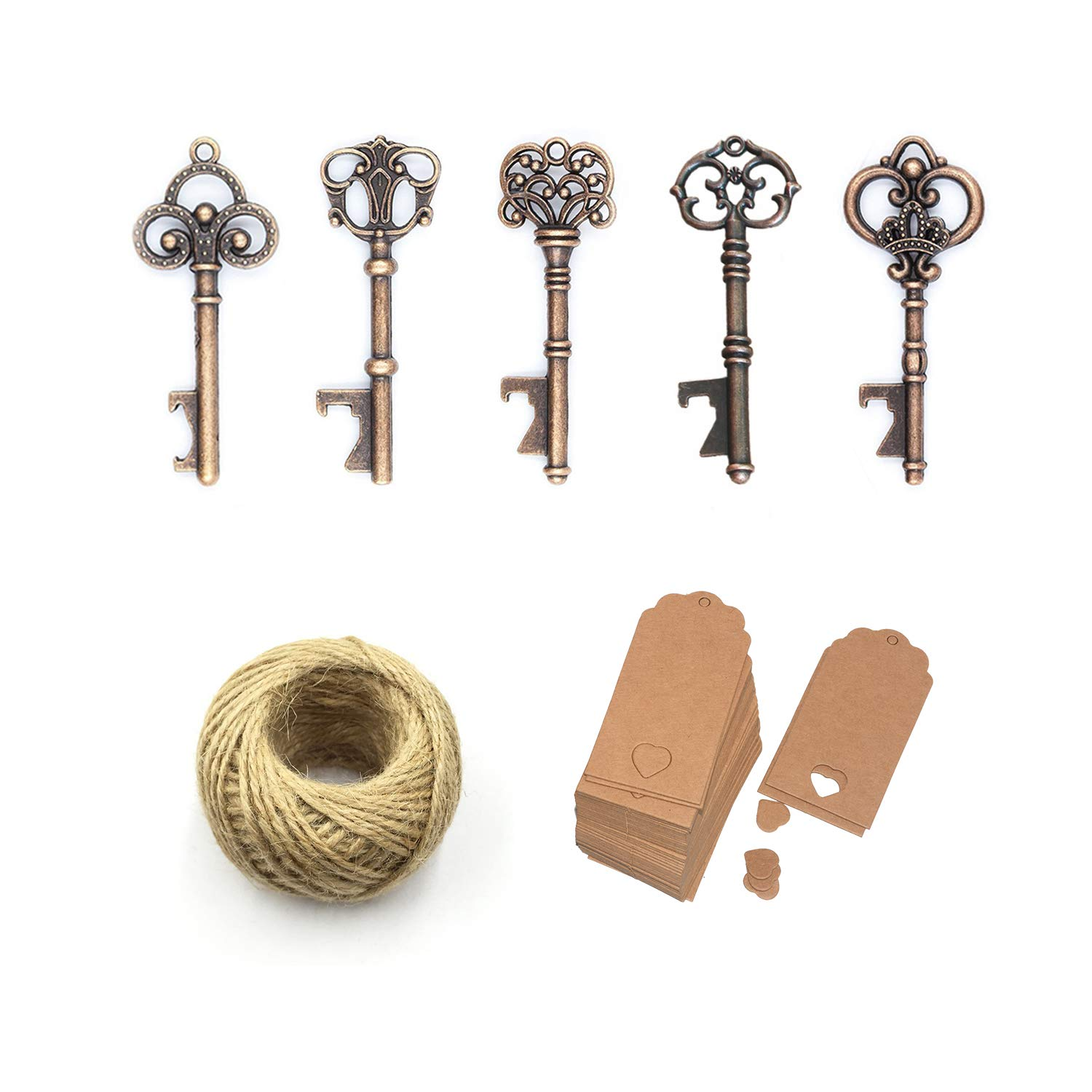Yansanido Pack of 100 Skeleton Key Bottle Opener with Escort Tag Card and Twine for Wedding Favors for Guests Party Favors (100pcs mixed 5 styles) by Yansanido (Image #4)