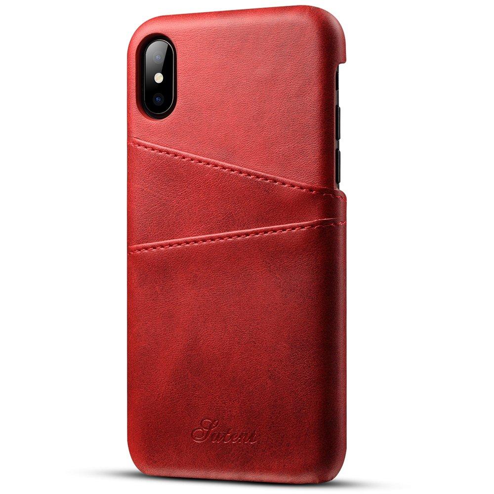 Mens Wallet Genuine Leather Slim Credit Card Back Holder iPhone 8 Case Black