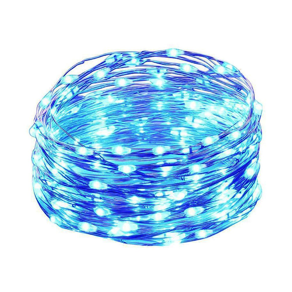 HAHOME Waterproof Led String Lights,33Ft 100 LEDs Indoor and Outdoor Starry Lights with Power Supply for Christmas Wedding and Party Decoration,Blue