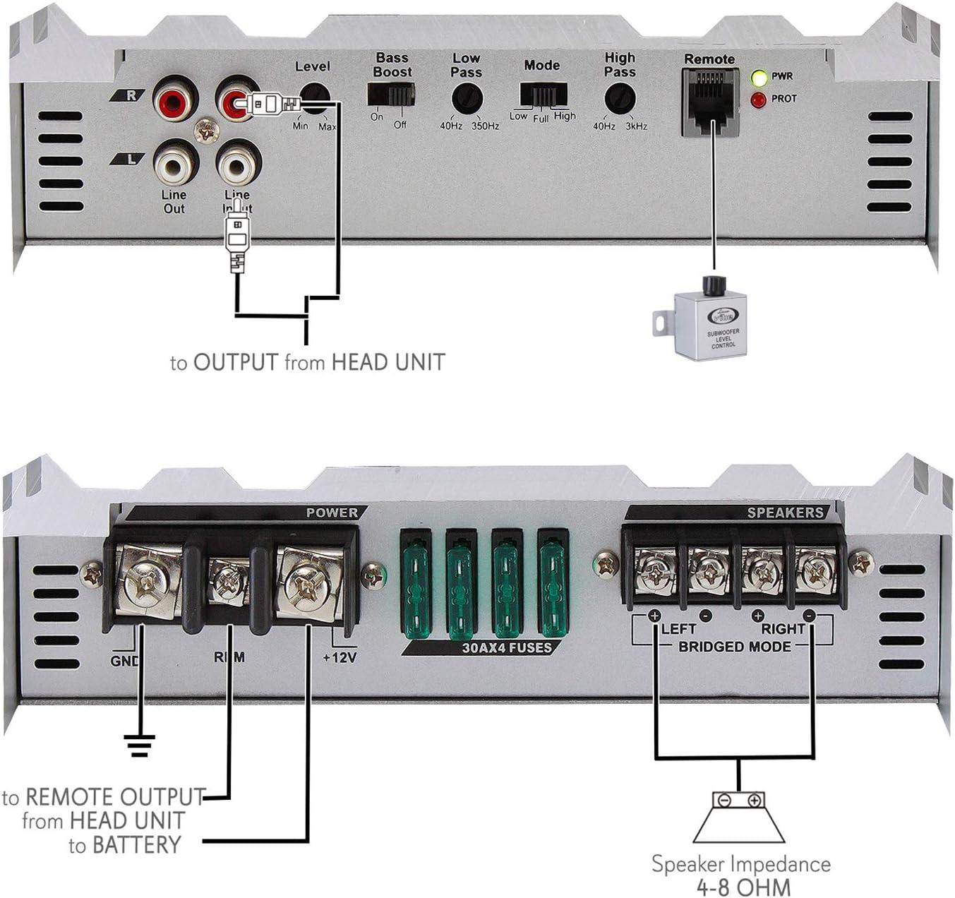 Lanzar VIBE236 Viberant 2 Channel 1000 Watts High Power Mosfet Amplifier