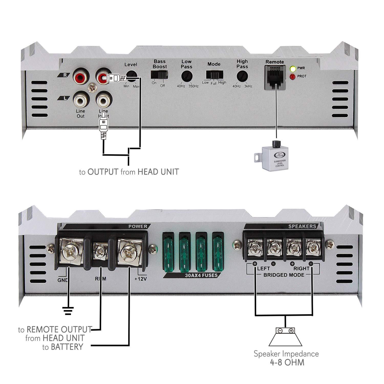 Lanzar Amplifier Car Audio 6000 Watt 2 Ohm Mosfet Boss Kit2 8 Gauge Complete Wiring Kit Pair Vminnovations Bass Boost Rca Inputs Subwoofer Control Power Led Indicators