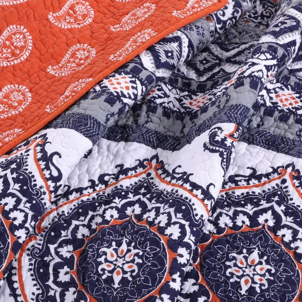 Orange Cotton 3 Piece Full/Queen Size Quilt Bedding Set
