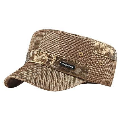 9734381d9c928e Amazon.com: Kuerqi Fashionable Cadet Baseball Cap Basic Everyday Army  Military Style Flat Top Hat for Men Women: Musical Instruments