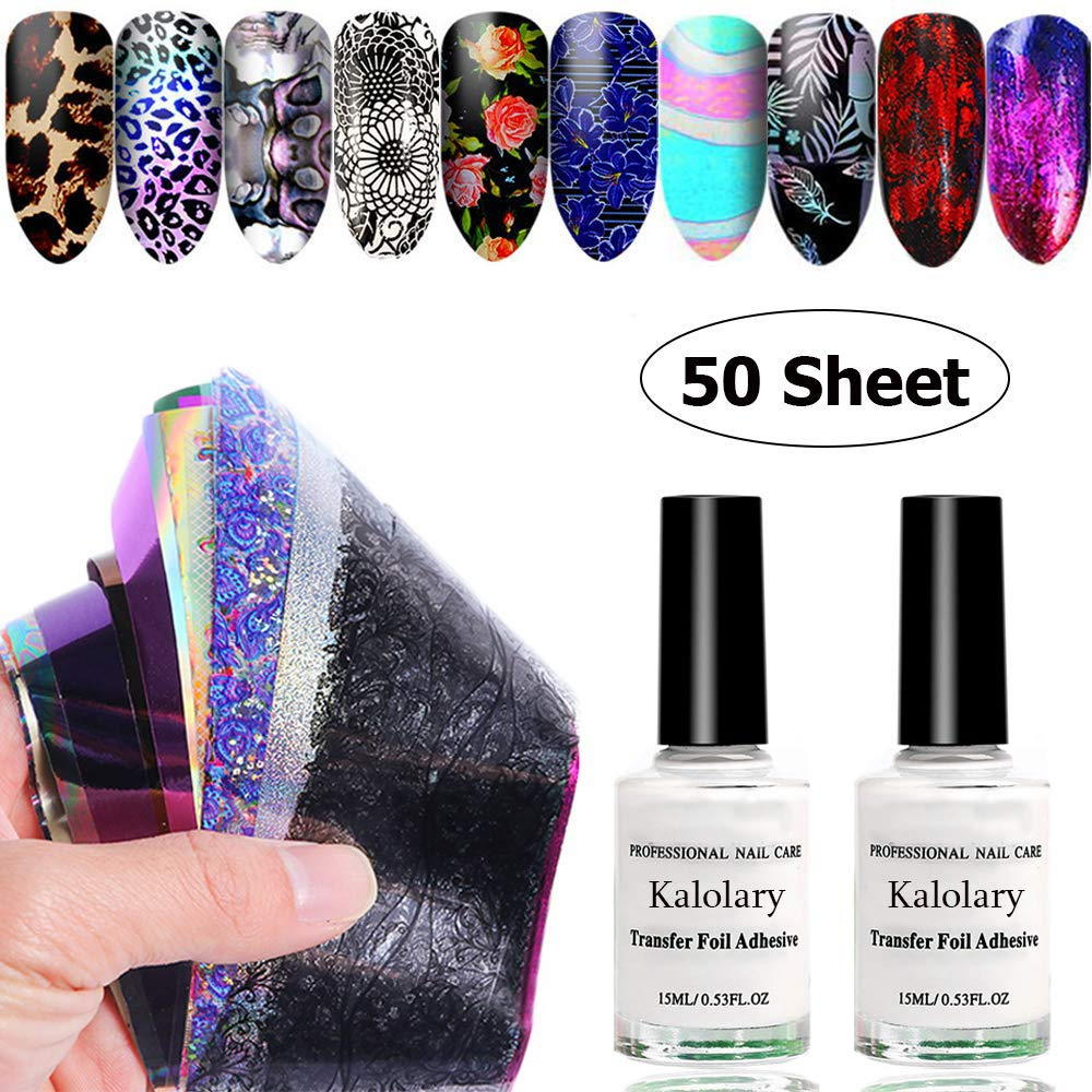 Kalolary 50 Sheet Starry Sky Star Foil Stickers Set with Nail Art Foil Glue, Holographic Nail Art Transfer Stickers DIY Decoration, UV LED Lamp Required(Random Color) by Kalolary
