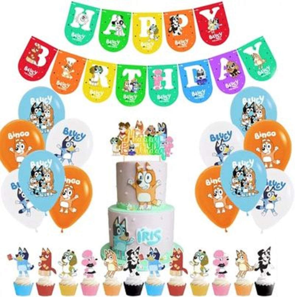 Banner Balloons Bluey Party Supply Decoration 26 Pieces Cake Topper