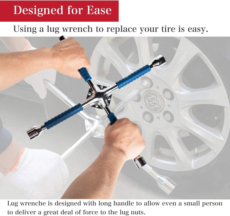 "ETERNA Professional 16"" Four Way Lug Wrench, Anti-Slip Design Cross Wrench, Heavy Duty Lug Nut Wrench, Carbon Steel Socket Spanner, Universal Car Tire Wheel Repair Tool: Automotive"